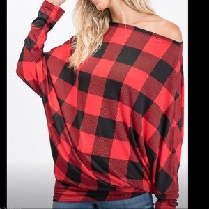 Tops - Plaid long sleeve dolman top with banded bottom